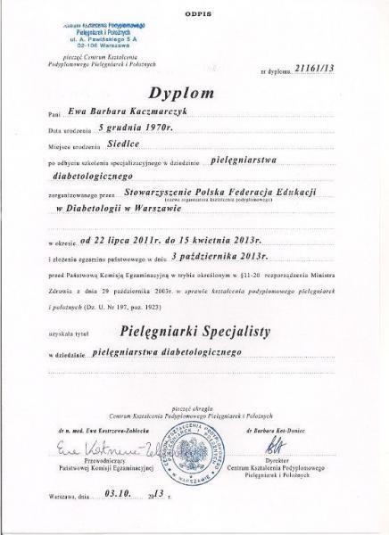 Dyplom pielęgniarstwa diabetologicznego