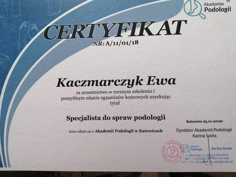 certyfikat rocznego szkolenia specjalistycznego do spraw podologii