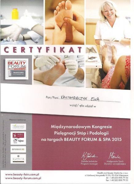 Certyfikat międzynarodowego kongresu pielęgnacji stóp i podologii