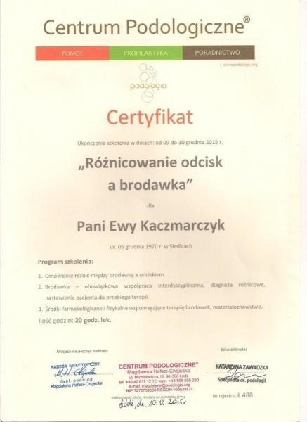 Certyfikat ukończenia szkolenia podologicznego