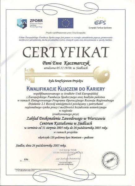 Certyfikat beneficjenta projektu kwalifikacje kluczem do kariery
