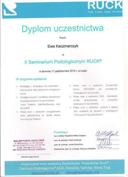 Dyplom uczestnictwa w Seminarium Podologicznym RUCK