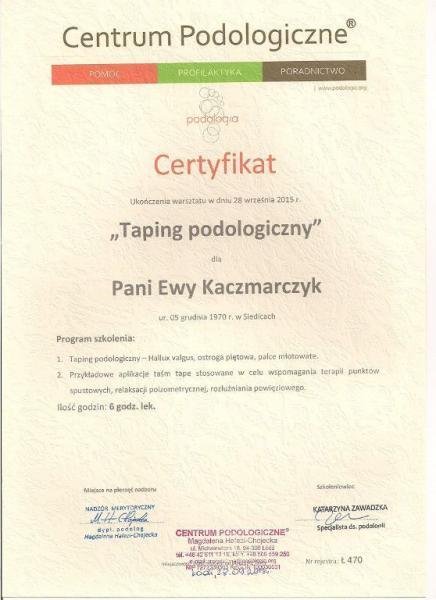 Certyfikat ukończenia tapingu podologicznego