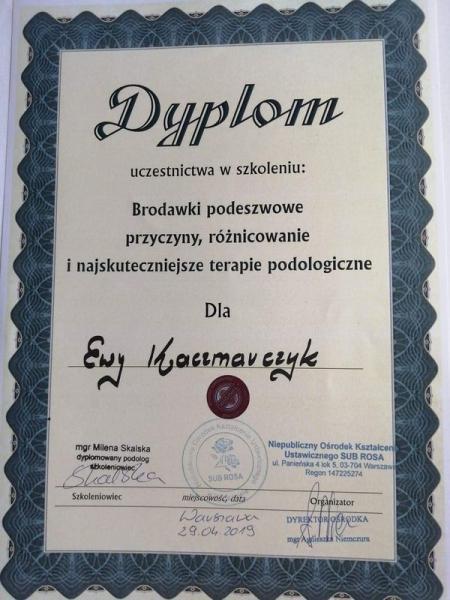 Dyplom uczestnictwa w szkoleniu