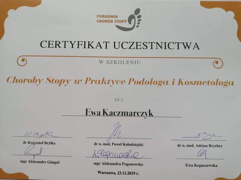 Certyfikat szkolenia chorób stóp w praktyce