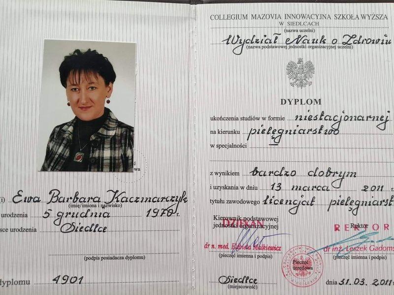 Certyfikat ukończenia studiów z kierunku pielęgniarstwa